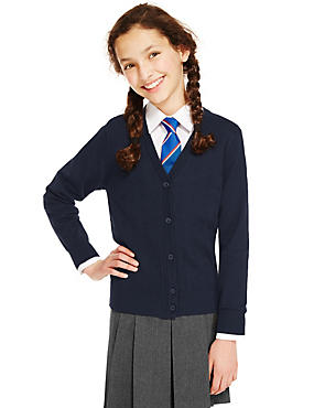 Girls' Cotton Rich Cardigan, NAVY, catlanding