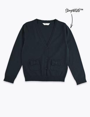 Girls' Pure Cotton Bow Pocket Cardigan