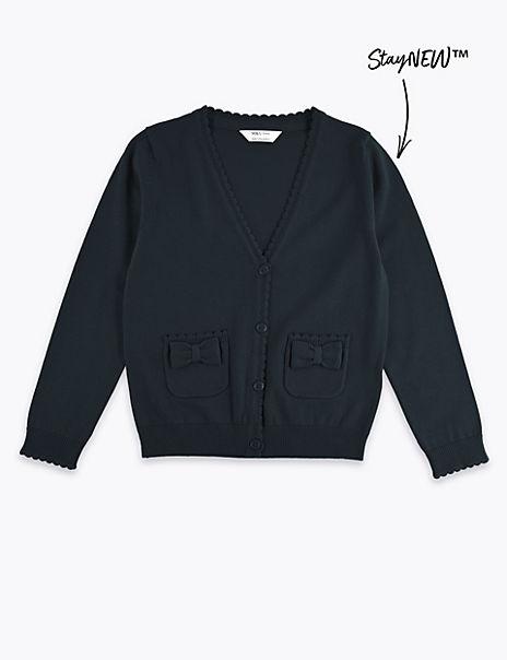 Junior Girls' Pure Cotton Bow Pocket Cardigan