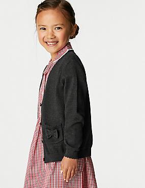كارديغان مدرسي بناتي من القطن الصافي بجيب وربطة عنق على شكل فراشة (3-18 سنة)