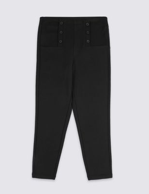 Girls' Skinny Leg Button Front Trousers
