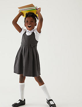 Βαμβακερό πλεκτό αμάνικο σχολικό φόρεμα για κορίτσια (2-12 ετών)