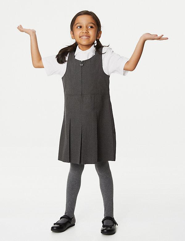 Schoolovergooier met plooi en grote pasvorm voor meisjes (2-12 jaar)
