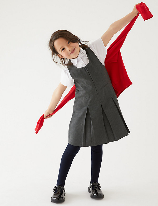 Langer model schoolovergooier met plooi voor meisjes (2-12 jaar)