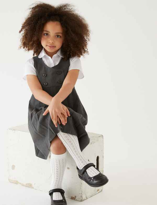 5067ef33460 Girls  Pinafore with Permanent Pleats