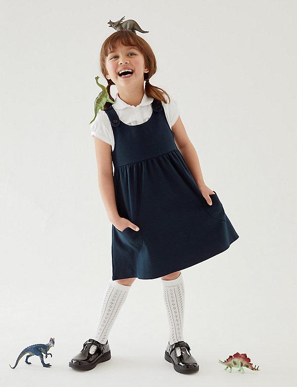 Katoenen schoolovergooier voor meisjes (2-12 jaar)