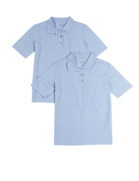 2 Pack Girls' Pure Cotton Polo Shirts
