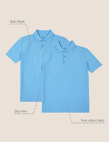 2 Pack Boys' Stain Resist Polo Shirts