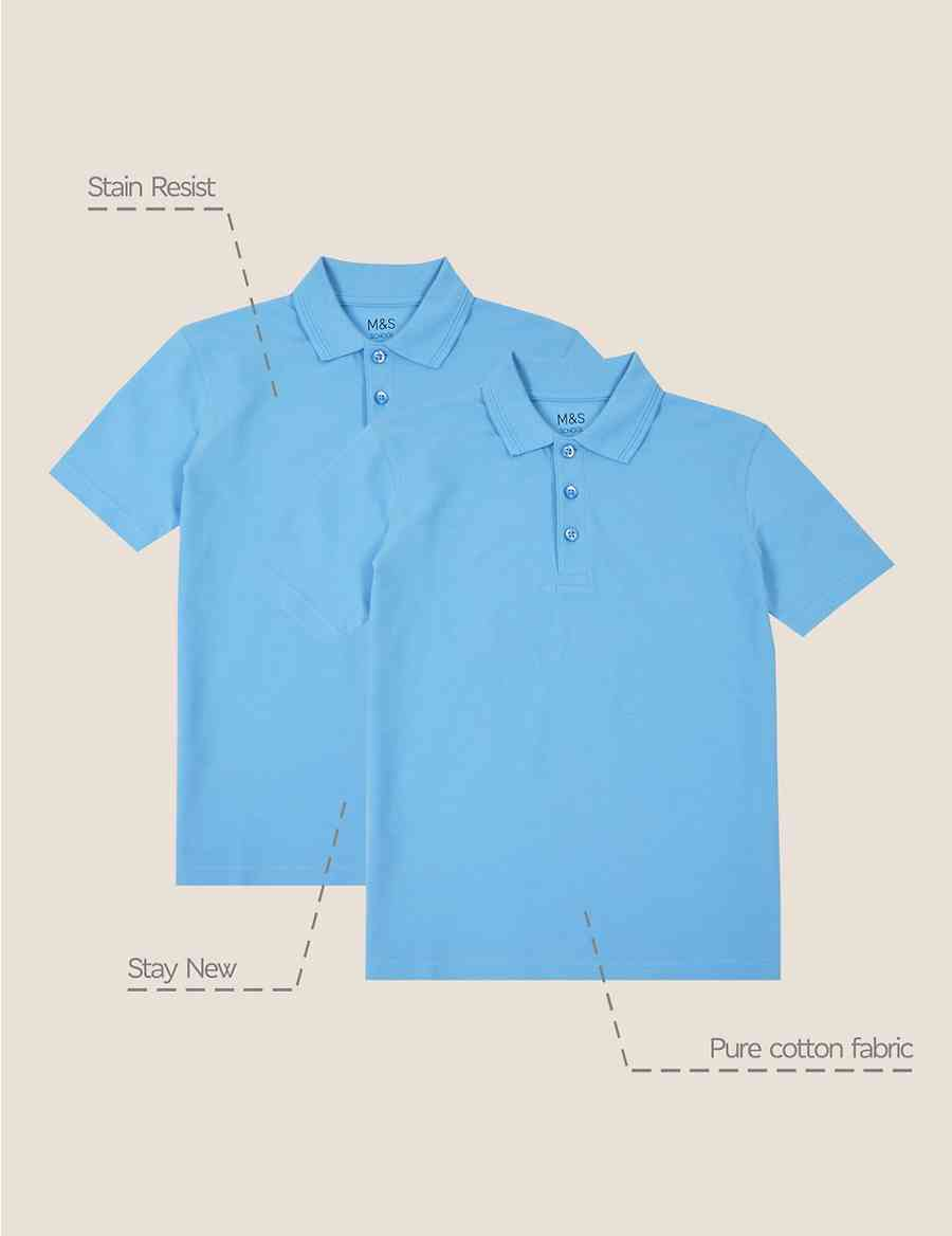 2 Pack Boys Stain Resist Polo Shirts