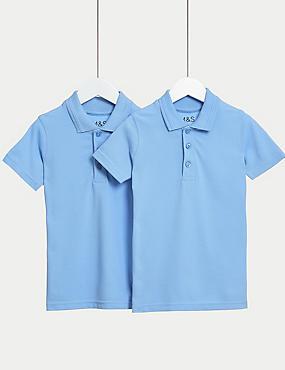 2pk Boys' Slim Fit School Polo Shirts (2-16 Yrs)