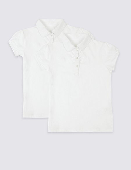 2 Pack Girls' Cotton Rich Polo Shirts