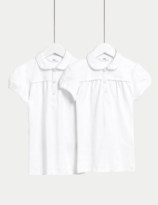 2pk Girls' Cotton Regular Fit School Polo Shirts (2-18 Yrs)