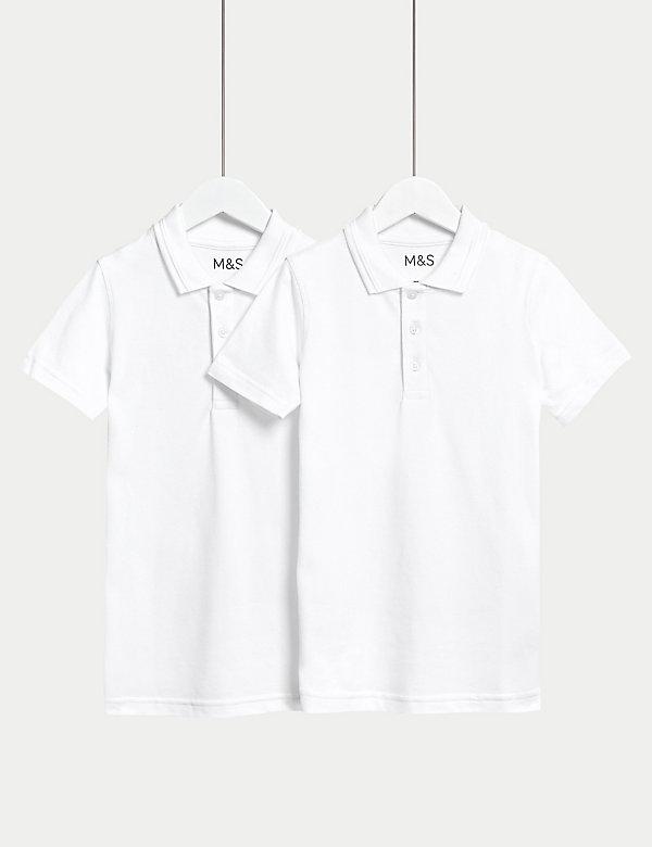 2pk Unisex Easy Dressing School Polo Shirts (3-18 Yrs)