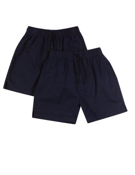 2 Pack Unisex Pure Cotton PE Shorts