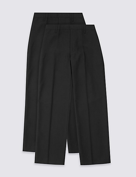 2 Pack Boys' Flat Front Trousers