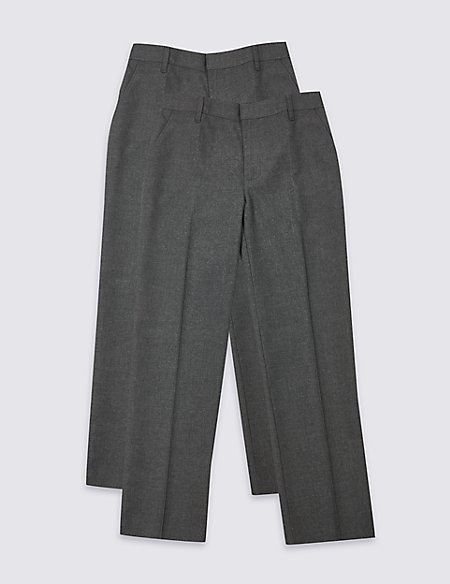 2 Pack Boys' Slim Leg Trousers