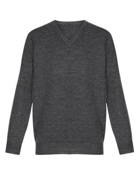 Unisex Wool Blend V-Neck Knitted Jumper