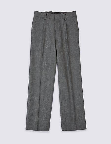 Boys' Wool Blend Pleat Front Trousers