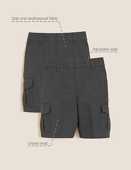 2 Pack Boys' Plus Fit Cargo Shorts