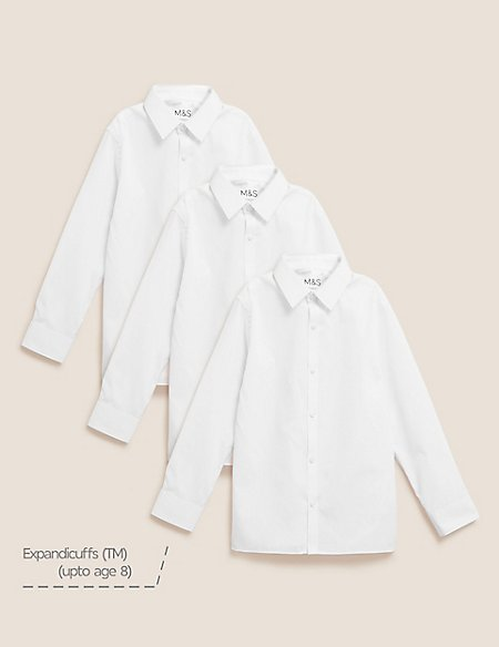 3 Pack Boys' Slim Fit Easy to Iron Shirts