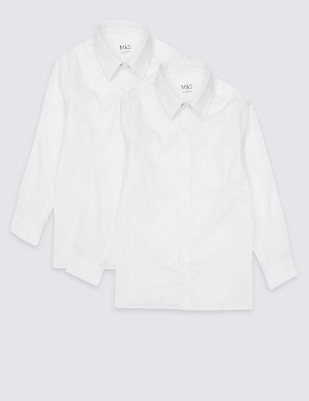 2 Pack Boys' Pure Cotton Non-Iron Shirts