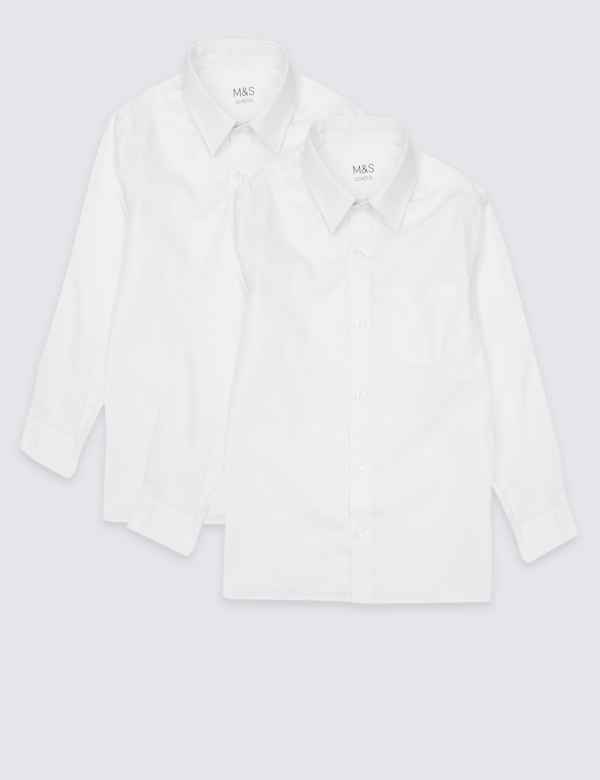 9df9f6747199 2 Pack Boys  Pure Cotton Non-Iron Shirts