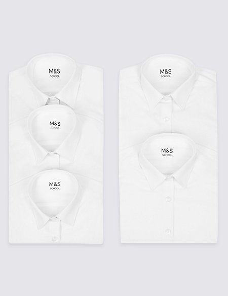 5 Pack Boys' Easy to Iron Shirts
