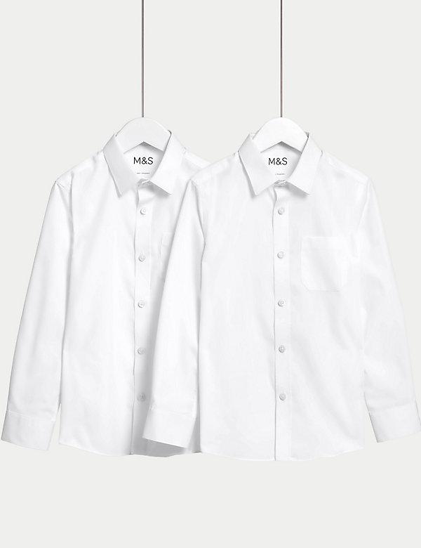 2pk Boys' Slim Fit Non-Iron School Shirts (2-18 Yrs)