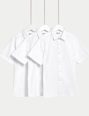 Plus Fit - Lot de 3 chemises garçons repassage facile, idéales pour l'école - White
