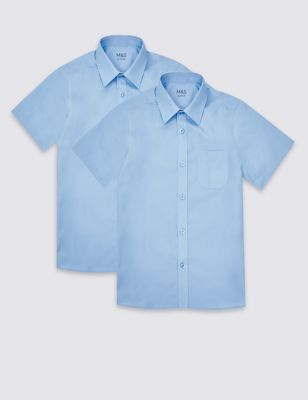 2 Pack Boys' Non Iron Shirts by Marks & Spencer