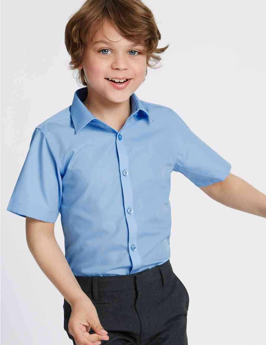 2 Pack Boys Slim Fit Non Iron Shirts Ms