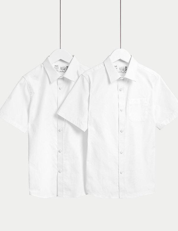 2pk Boys' Cotton Regular Fit School Shirts (2-18 Yrs)