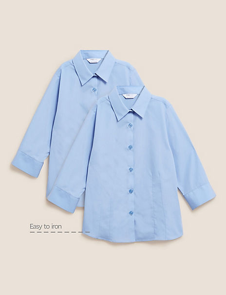 2 Pack Girls' 3/4 Sleeve Easy to Iron Blouses