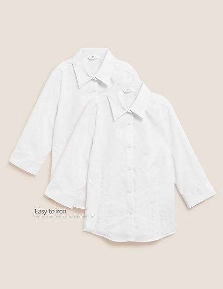2 Pack Girls' Easy to Iron Blouses