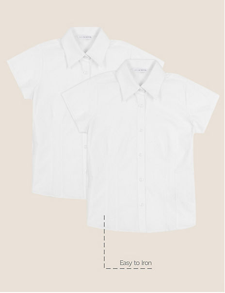 2 Pack Girls' Cap Sleeve Easy to Iron Blouses