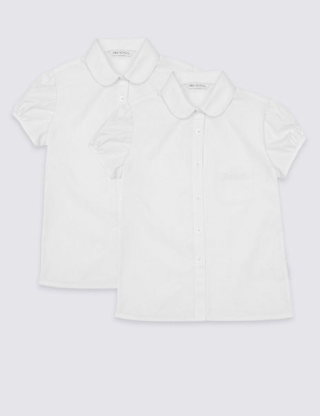 2 Pack Girls' Embroidered Easy to Iron Blouses