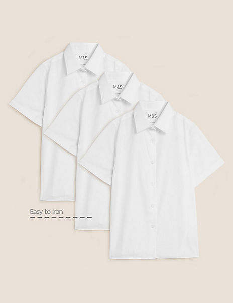 3 Pack Girls' Regular Fit Easy to Iron Blouses
