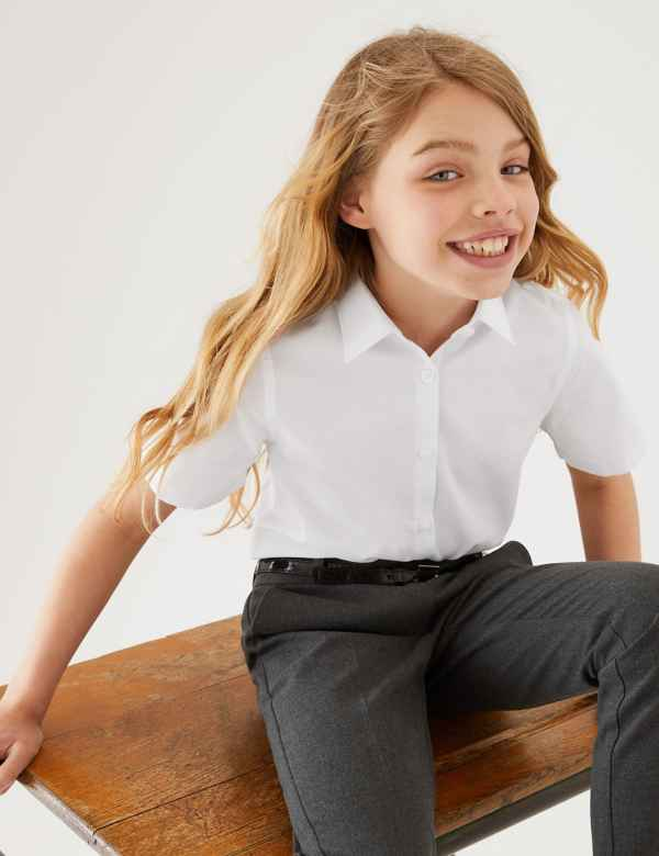 a47fde2c3 3 Pack Girls' Slim Fit Easy to Iron Blouses