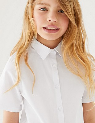 3 Pack Girls Slim Fit Easy To Iron Blouses Marks Spencer London