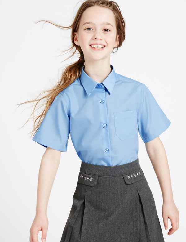 5b346f32e06 2 Pack Girls  Slim Fit Non-Iron Blouses