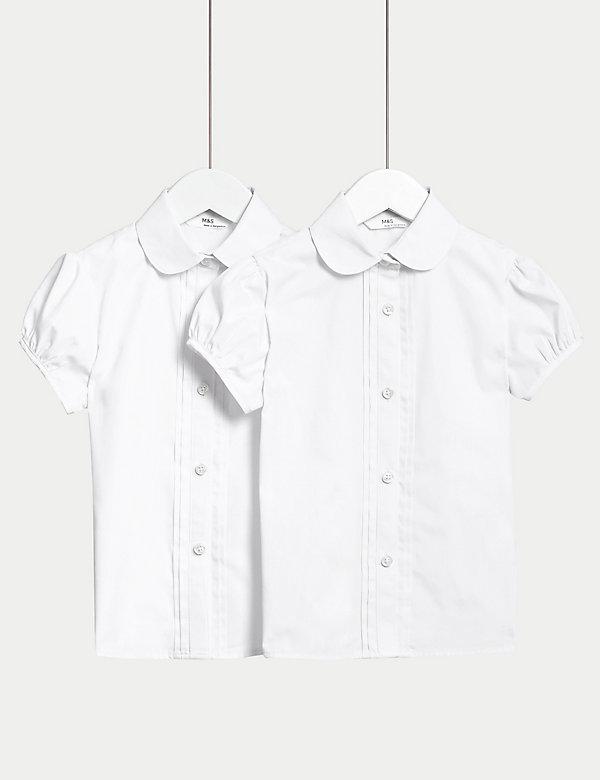 2pk Girls' Pintuck Easy Iron School Shirts (2-16 Yrs)