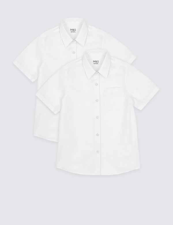 fe95af0b89e 2 Pack Girls  Pure Cotton Non Iron Blouses