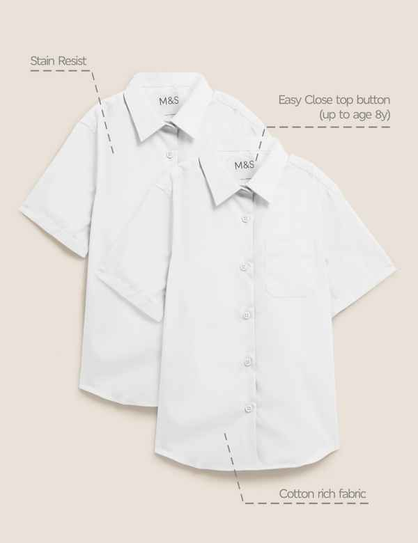 Boys Girls 2 School Shirts white Long /& short sleeve Generous fit ex display