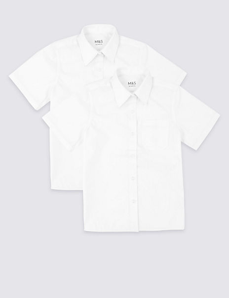 2 Pack Girls' Easy Dressing Non-Iron Blouses