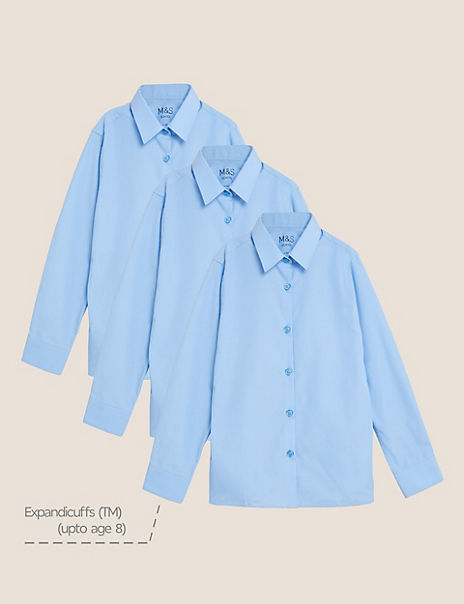 3 Pack Girls' Slim Fit Easy to Iron Blouses