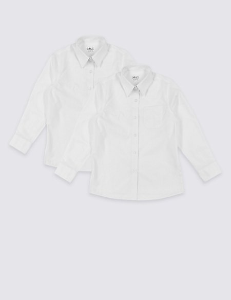 2 Pack Girls' Pure Cotton Non-Iron Blouses