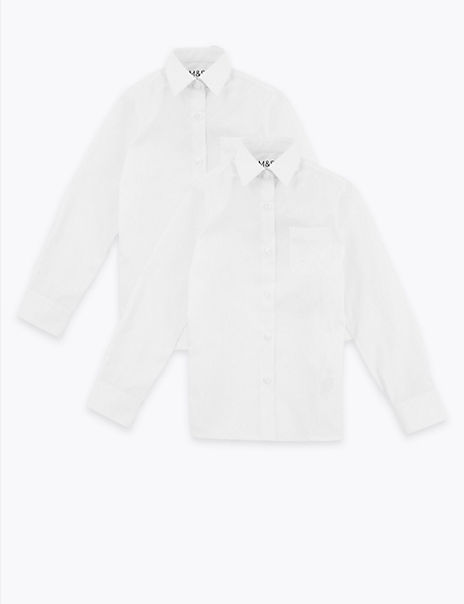 2 Pack Girls' Plus Fit Non-Iron Blouses