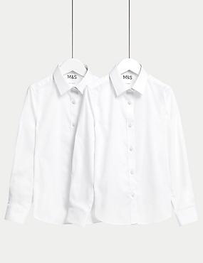 2er-Pack schmal geschnittene Schulhemdblusen für Mädchen (2–18 Jahre)