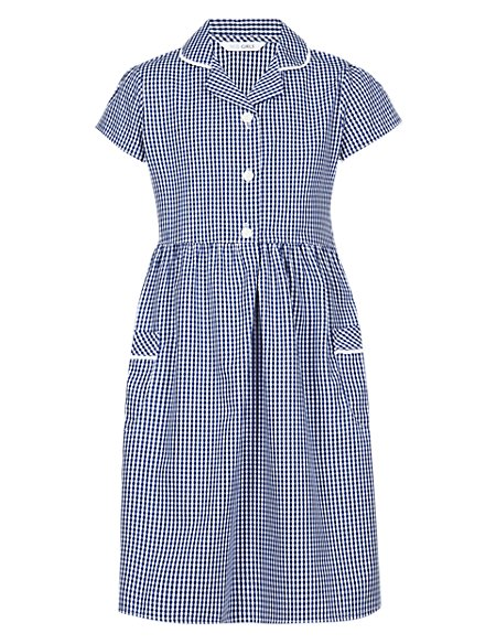 Girls' Pure Cotton Easy to Iron Gingham School Dress