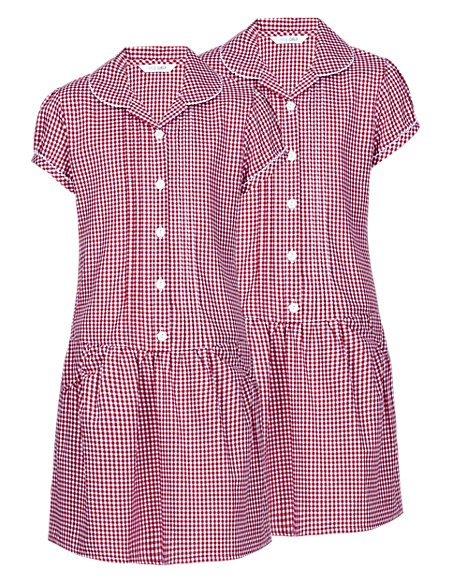 2 Pack Easy to Iron Gingham Dresses